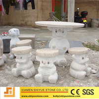Hand carving animal stone garden table
