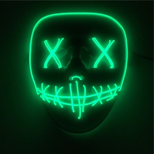 PoeticExst Light Up Glow Neon EL Wire Mask for Halloween Flashing Mask