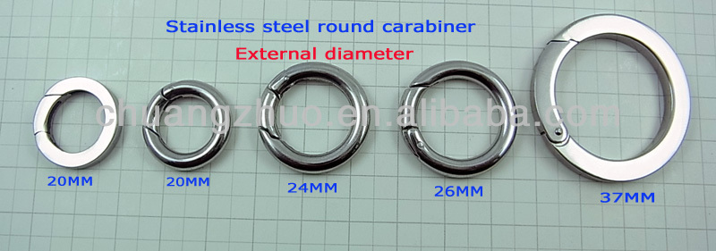 Hot Sales Fashion Zinc Alloy Metal Round Carabiner Clip Out Diameter