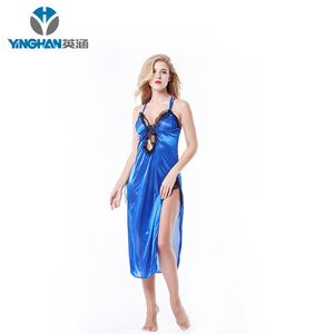 Transparent Women Nightwear Lace Silk Satin Sleepwear Long Dress Halter Lingerie