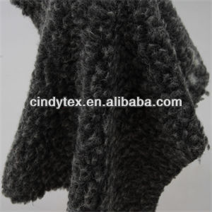 10mm 2-tone black gray plushed short hair 100% polyester sherpa faux fur fabric