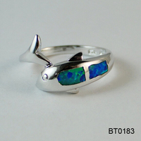 Alibaba Qualified Supplier Unique Copper Casting Ocean Opal Jewelry Inspired Designer Animal Ring