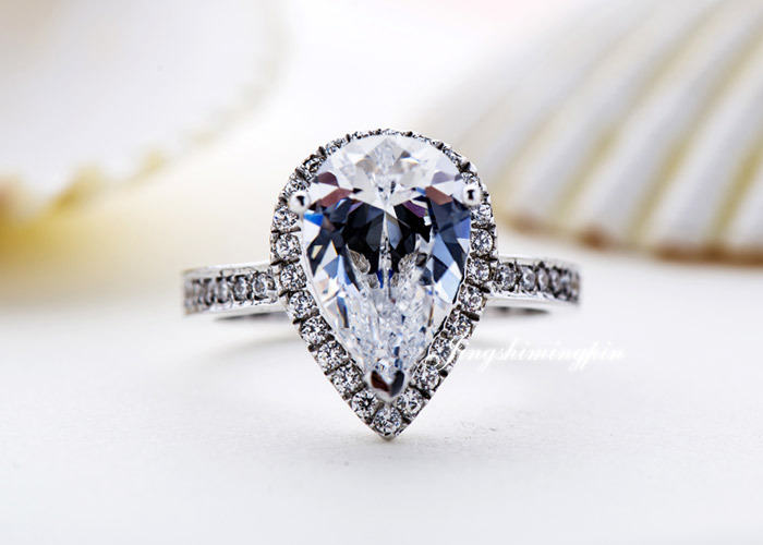 Clear 3 Ct Pear Cut Water Drop Synthetic Diamond Rings For Wedding Sterling Silver White Gold Women In Price On M Alibaba