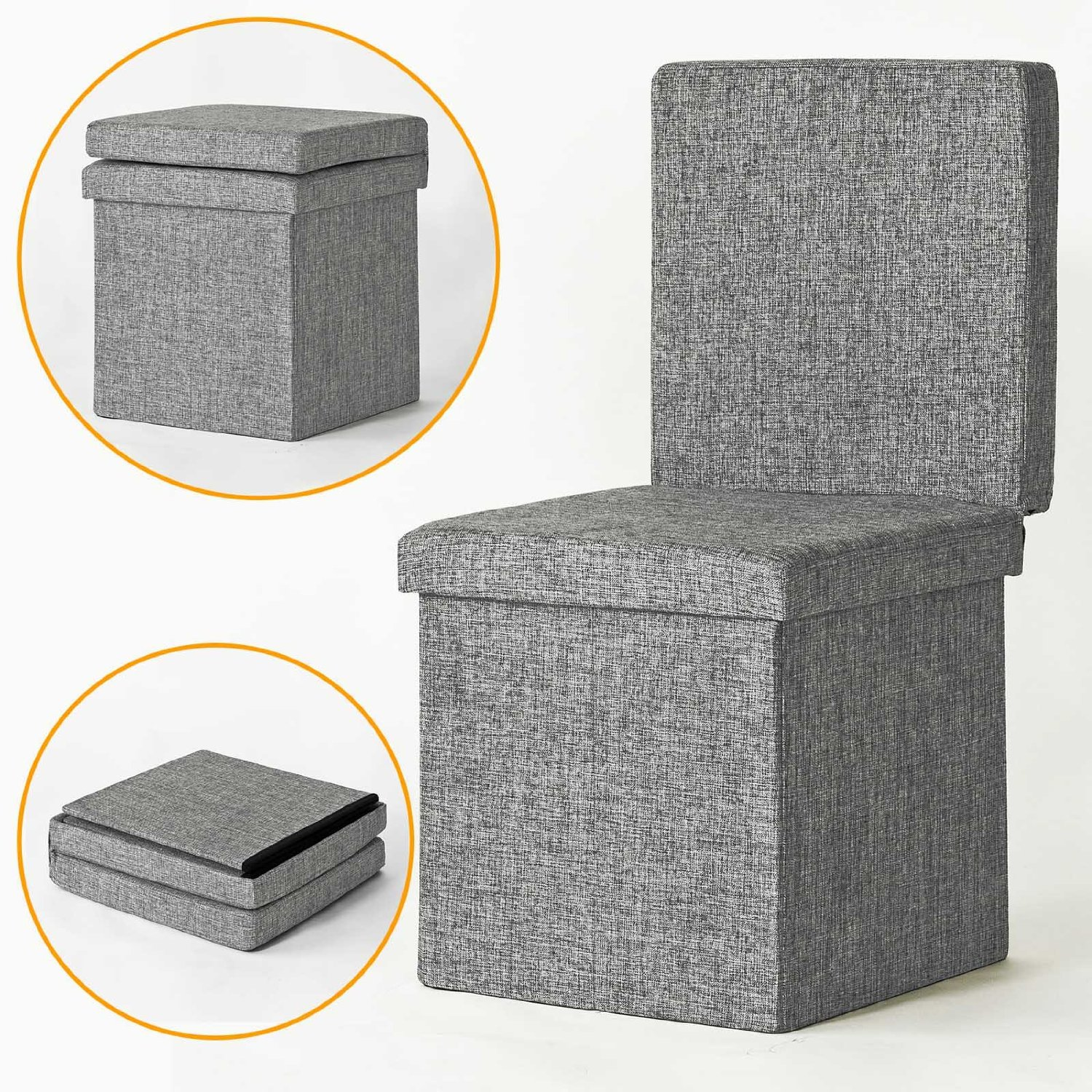 Get Quotations · Haotian Folding Storage Ottoman, Folding Storage Bench  With Seat Cushion, Sofa With Storage Box