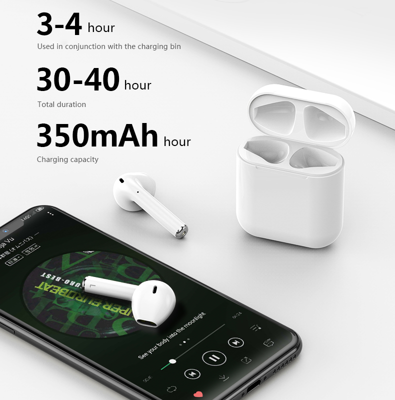 Ready Stock Top Quality I12S TWS Bluetooth Earphone With Touch Sensor Version 5.0 Wireless Headphone I12 Bluetooth Earphone