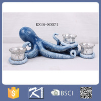 decorative resin unique aquarium decorations octopus with candlle holders