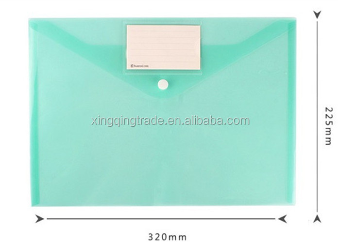 A4 Plastic Candy Color Transparent Document Folder With Snap Button Paper Organizer Office and School Supplies