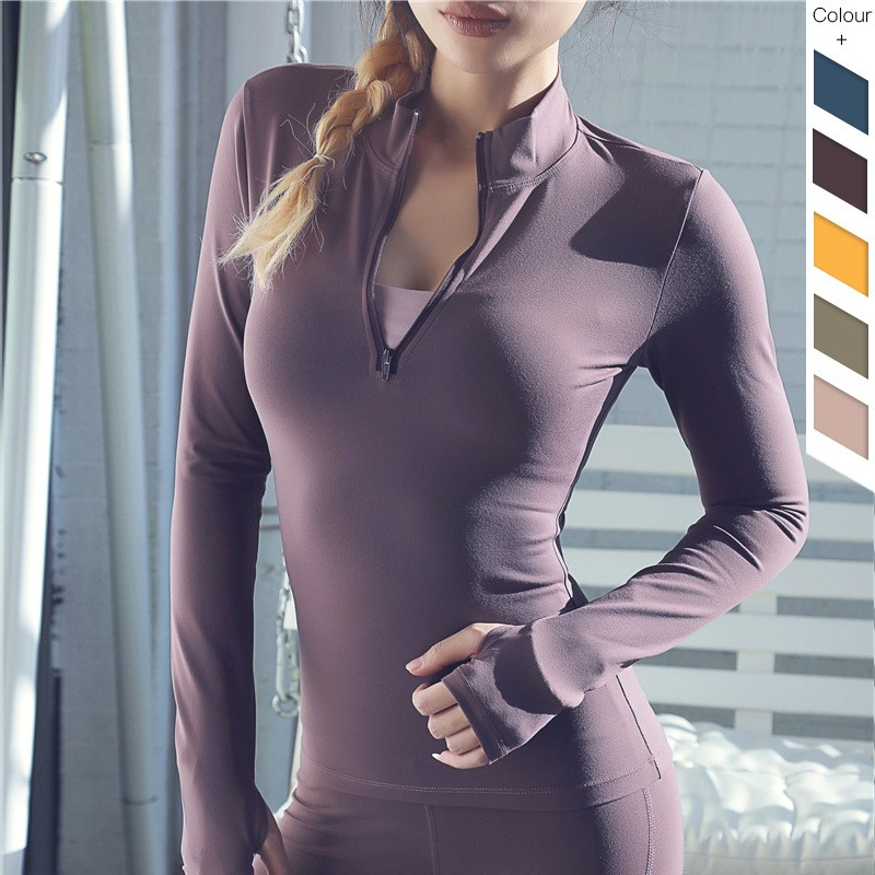 Custom Compression Long Sleeves T Shirts With Zip 100% Cotton Make Your Own Compression Shirts