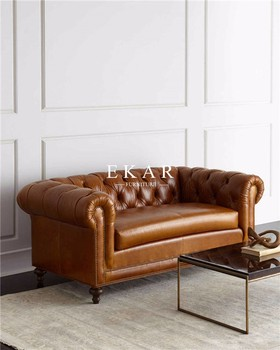 Commercial Luxury Industrial Style Brown Real Leather Chesterfield Sofa    Buy Real Leather Sofa,Cheap Leather Sofa,American Industrial Style Product  ...
