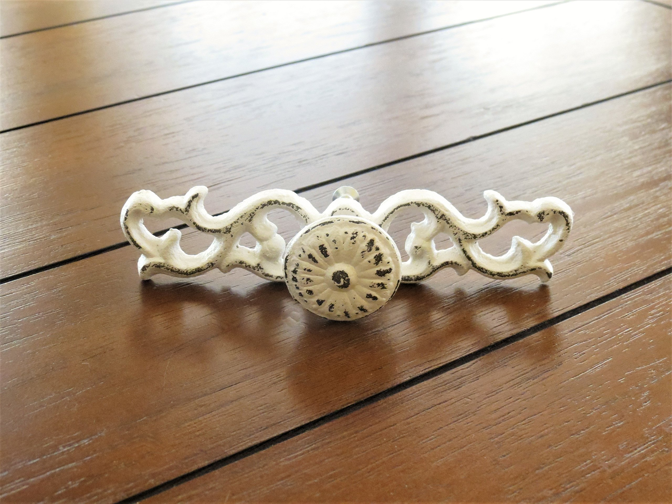 Shabby Chic Scrolled Drawer Pulls Dresser Knobs Antique White or Pick Color