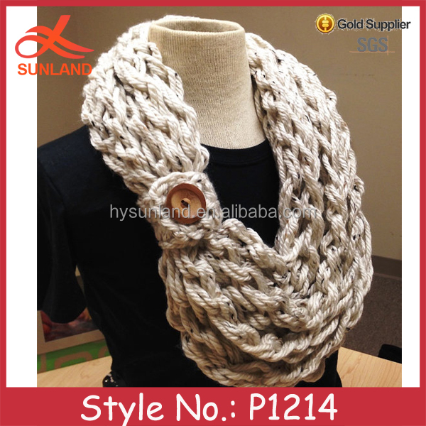 P1214 2015 fashionable winter acrylic crochet knitted scarf/neck warmer