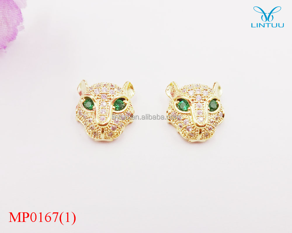 New mirco cz pave leopard head with green eyes charm pendant bracelet charms