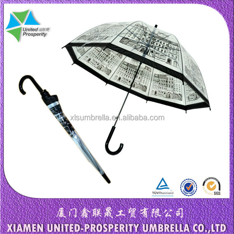 "23"" printed poe fabric straight rain umbrella"