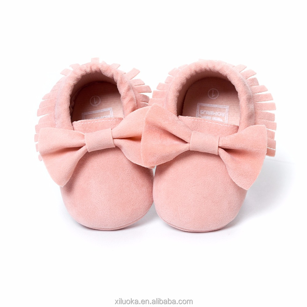 Bowknot leather shoes pink baby moccasins infant new fashion shoes