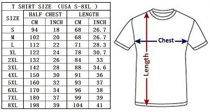 us t shirt size
