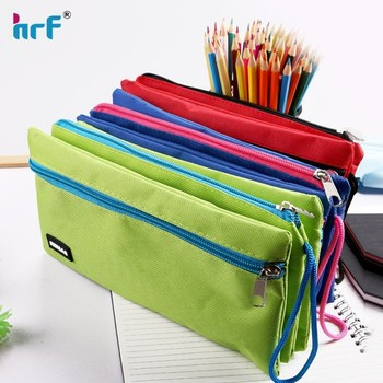 2015 New 3 in 1 canvas pencil case for school with large capacity