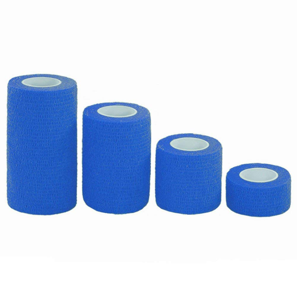"PPDD Self Adherent Bandages Cohesive Wrap First Aid Tape Band Elastic Non-woven for Finger Elbow Knee Toe Wrist Ankle Athletic Sports Pet Supply 1"" 2"" 3"" 4"" X 5 Yards 4 Count (Dark Blue)"