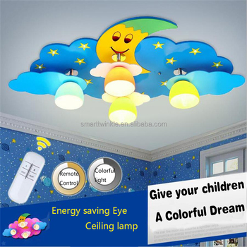 Colorful Kid\'s Led Ceiling Lamp Children Room Moon Stars Led Ceiling Light  Bedroom Kindergarten Lighting Remote Control Lights - Buy Children Ceiling  ...