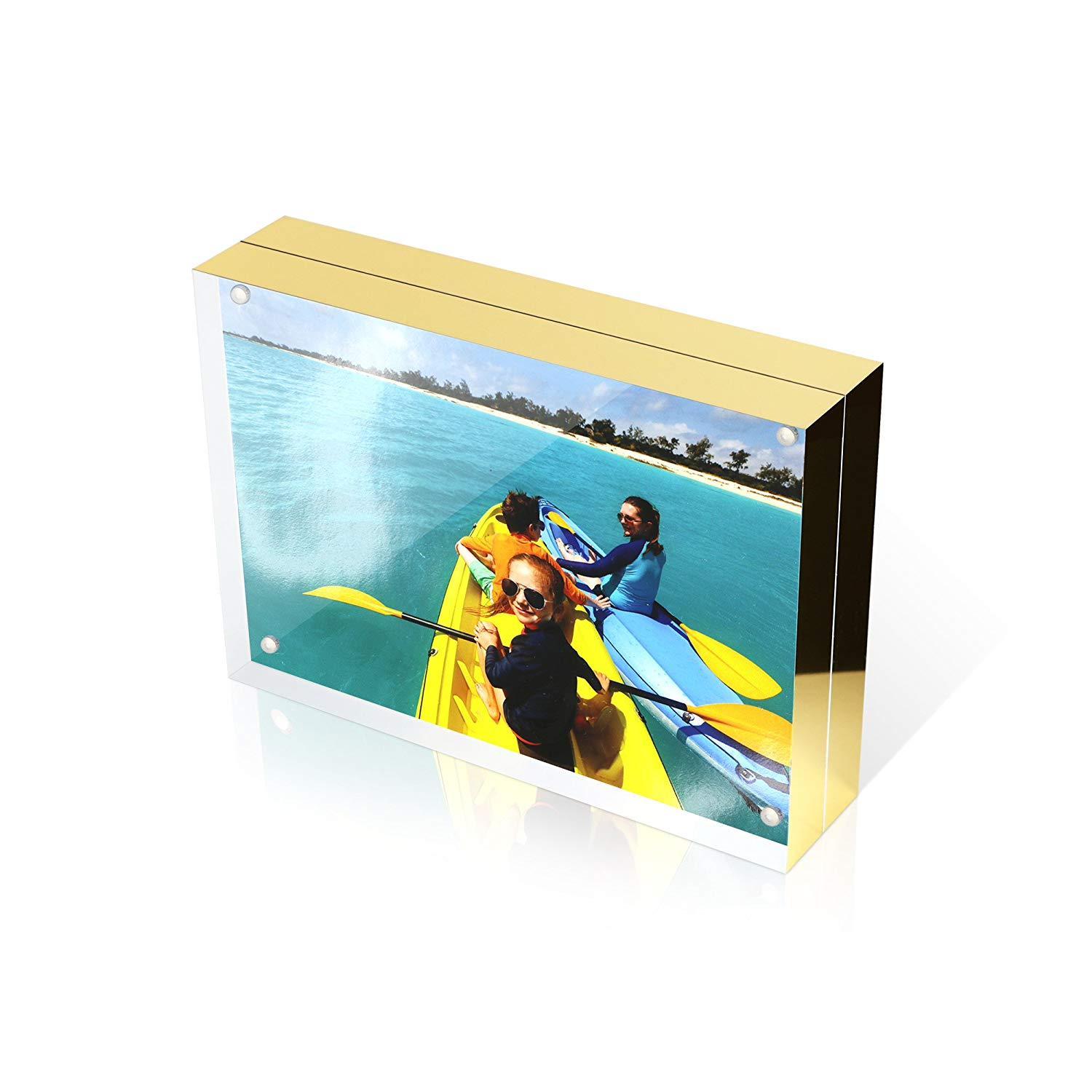 a998fab1c230 Get Quotations · 4X6 Double Sided Picture Frame - Magnetic Clear Acrylic  Photo Frames with Microfiber Cloth and Black
