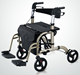 2 in 1 Rollator folding Euro style Transport Chair Elderly Adult Bariatric Mobility Aid walker with shopping bag & footrest