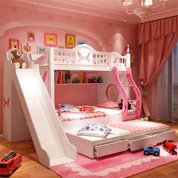 Home Furniture Loft Solid Wood Frame Children Cartoon Bunk Bed With