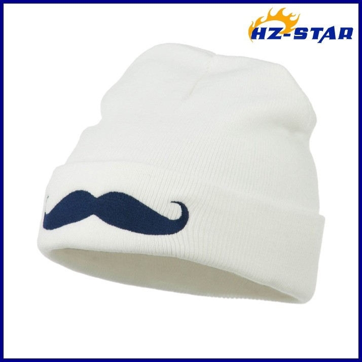 HZM-14180004 2017 white knitted winter new cap embroidery beard hat