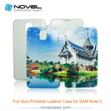 sublimation leather phone case for Samsung galaxy note 3, full size leather flip case