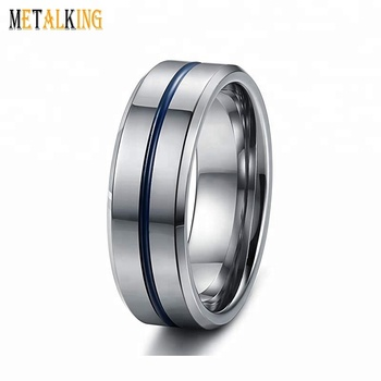 8mm Mens Tungsten Carbide Ring High Polished Groove Blue Line Engagement Wedding Band Beveled Edge