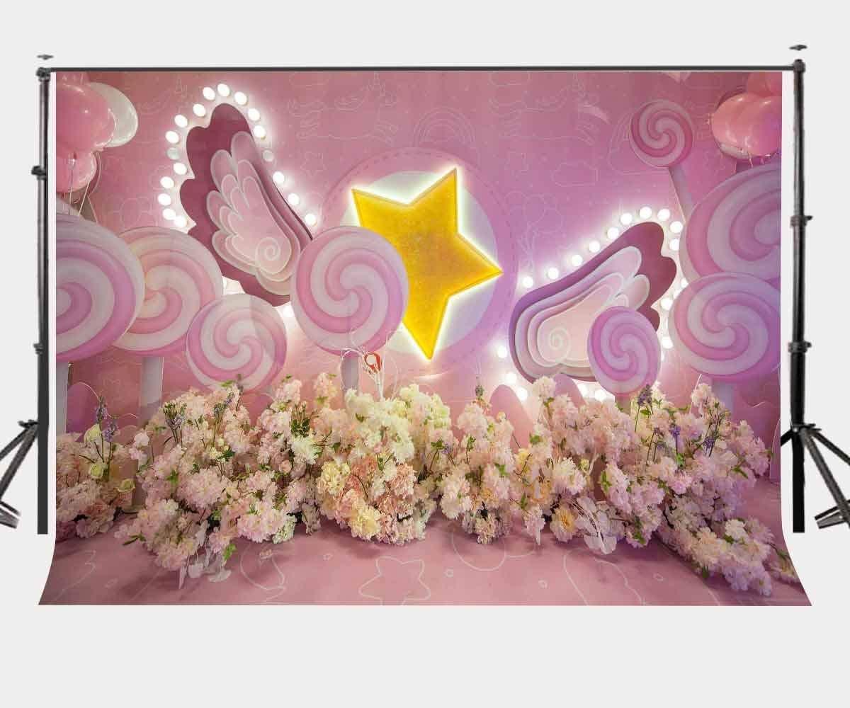 ERTIANANG 150x220cm Romantic Millennial Pink Backdrop Cute Lollipops Photography Background Baby Children Theme Photo Screen