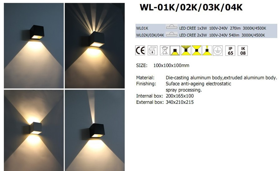 lampen 6w 220v up down trap verlichting onder kast. Black Bedroom Furniture Sets. Home Design Ideas