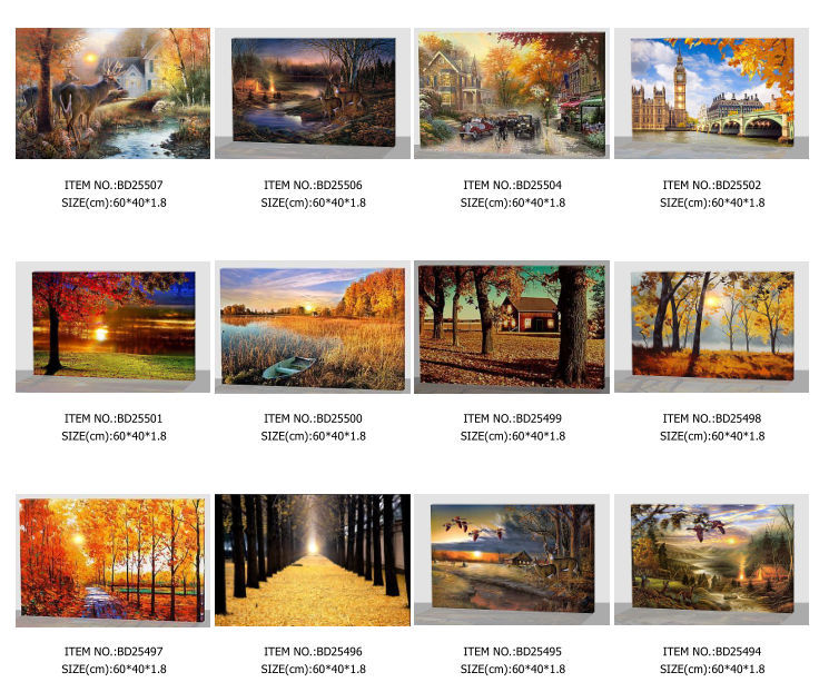 Winter Holiday Scenery Lighted Canvas Wall Art Picture Led Canvas
