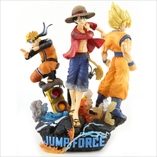 Famoso anime Goku <span class=keywords><strong>Naruto</strong></span> Rufy un <span class=keywords><strong>set</strong></span> di 3 In Scatola Figure Decorazione 26 CENTIMETRI 1 KG