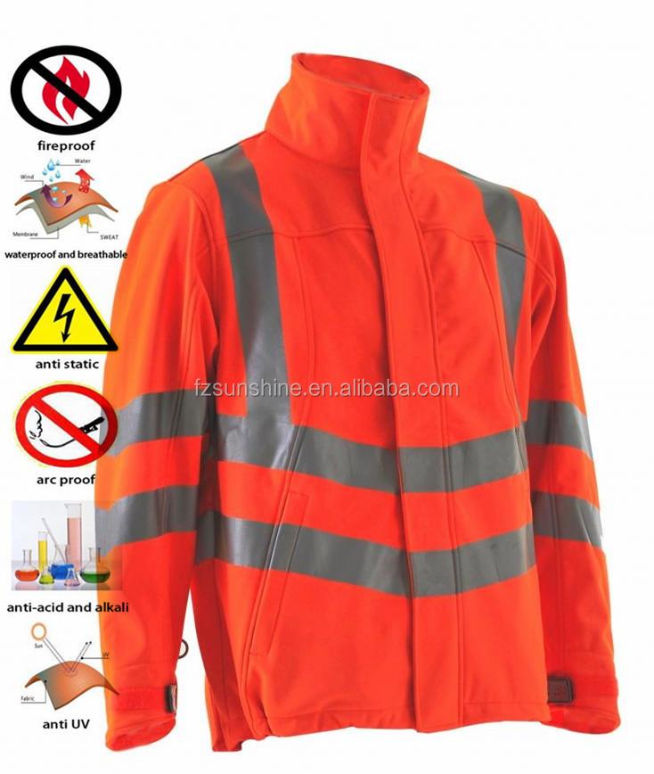 54621d12661 Impermeable Softshell invierno de alta visibilidad chaqueta de trabajo con cinta  reflectante
