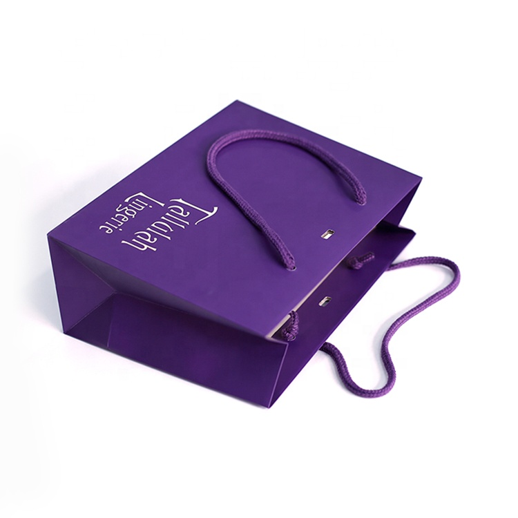 Recyclable Custom OEM Purple Paper Shopping Bag Printing Gift Bag