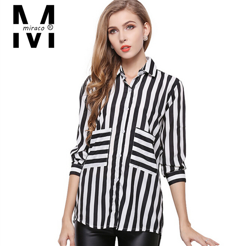 34d17ec9a88deb Get Quotations · Women Work Wear Long Sleeve Black White Striped Chiffon Blouse  Shirt Ladies Office Shirt Casual Autumn