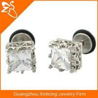 fashion druzy stud earrings cheap diamond earring stainless steel body jewelry wholesale