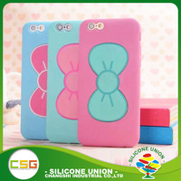Eco-friendly Silicone mobile phone holder case Bowknot stents case