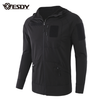 ESDY  Black Thin Outdoor Hiking Tactical Fleece Sweater Hoodie
