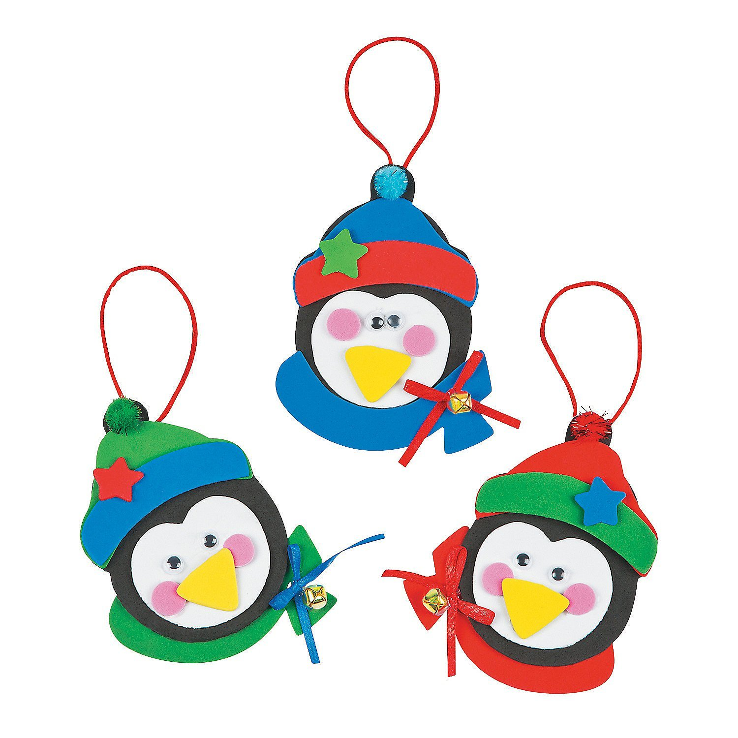 get quotations 12 christmas penguin ornament foam craft kits approx 5 new