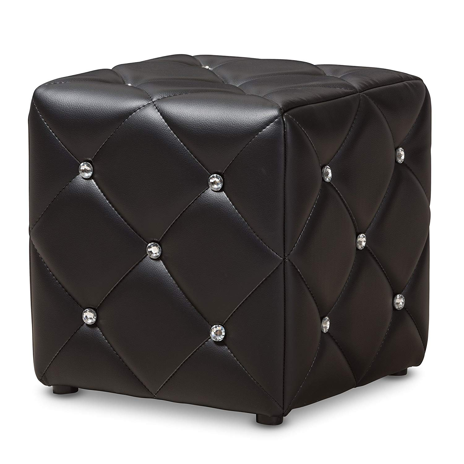 Baxton Studio Stacey Modern and Contemporary Black Faux Leather Upholstered Ottoman/Contemporary/Black/Faux Leather/Eucalyptus Wood/HDF/Foam