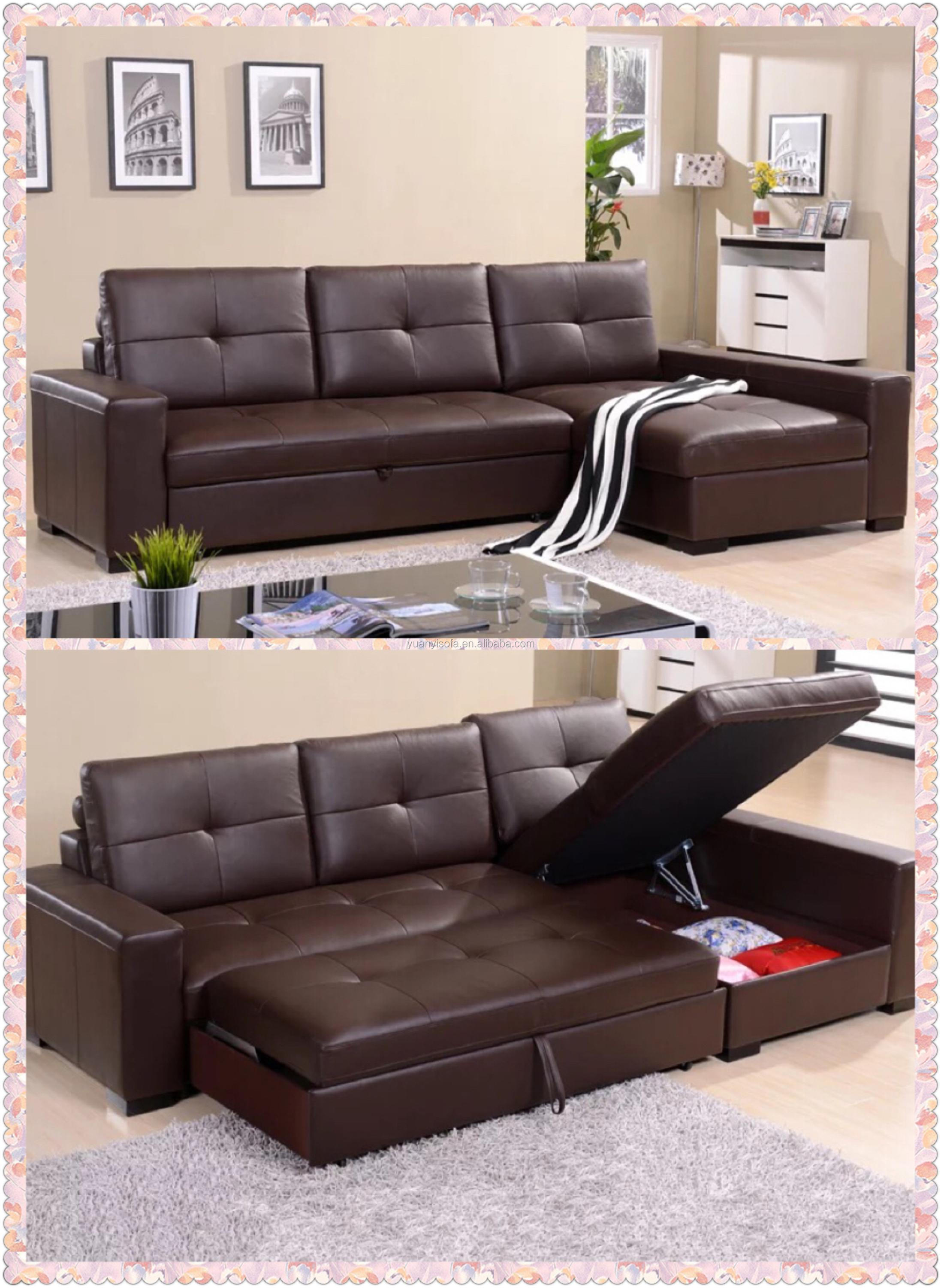 Multifunctional Corner Leather Sofa Bed