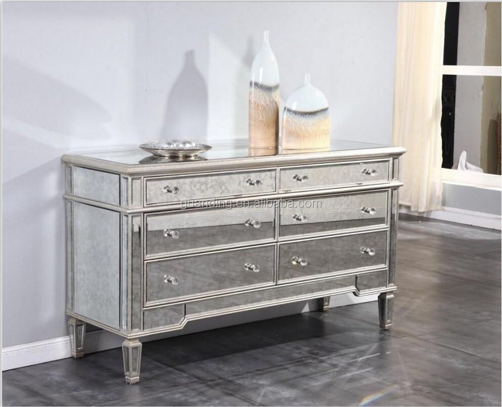 Antique Mirrored 6 Drawer Dresser With