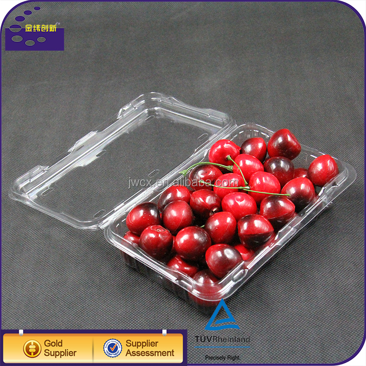 Plastic fruit clamshell packaging container for cherries and strawberries