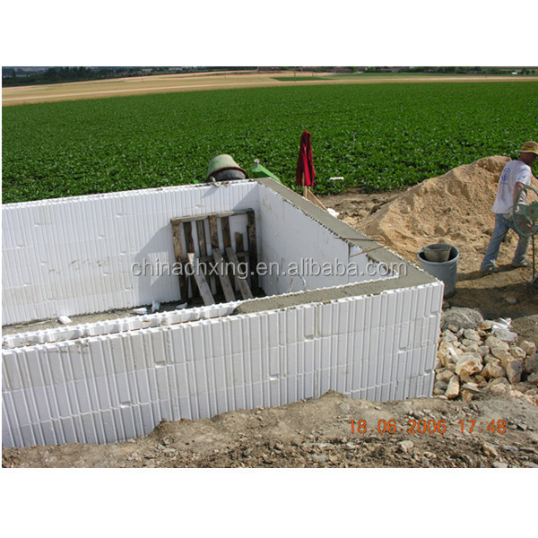 Modern structural icf foam blocks building construction for Foam block foundation prices