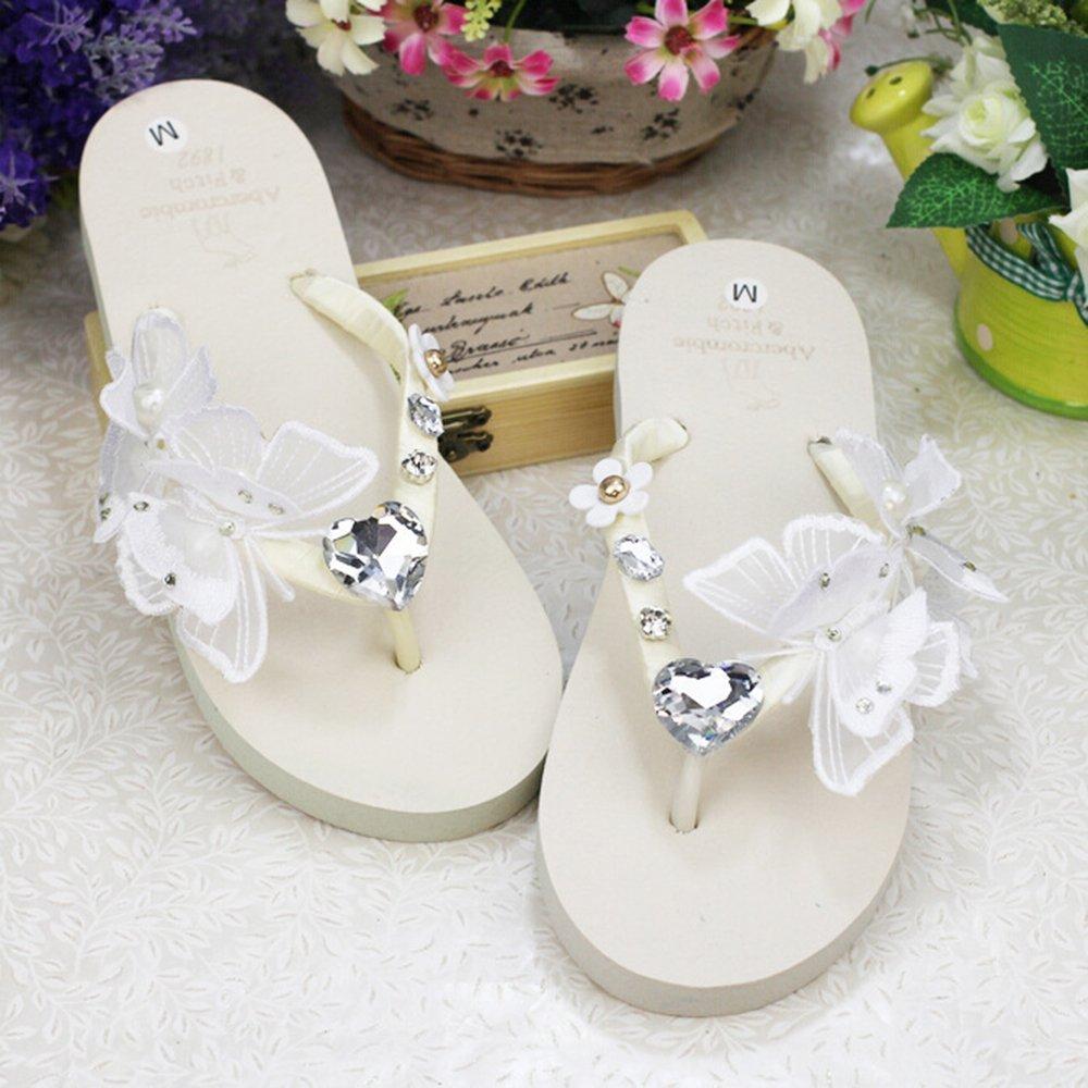KAKA(TM) Women's Fashion Rhinestone Glitter Studded Crystal Flower Thong Sandals Flip Flops Sandals White 37-38