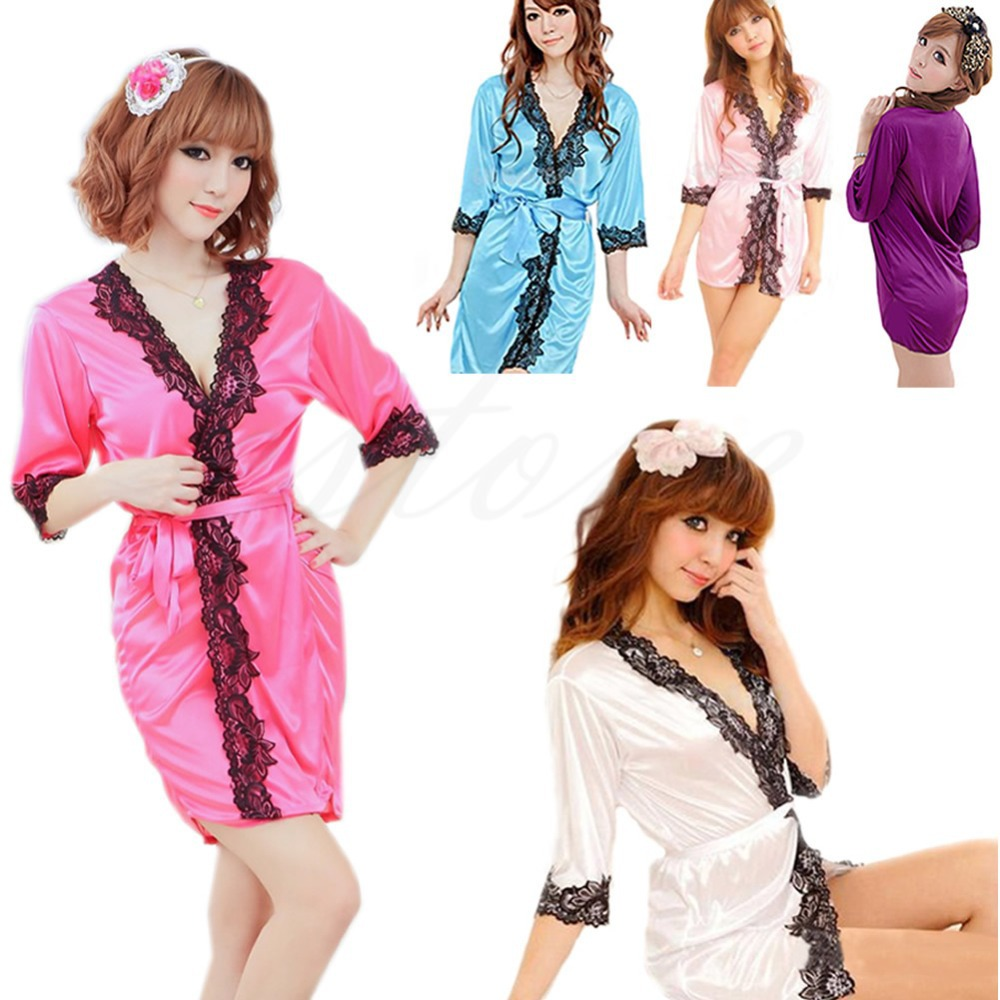 4e41d7ba9ce Buy Ladies Women  39 s Sexy Silk Lacework Bathrobe Dressing Gown Sleepwear  Lingerie G-string Bath Robe in Cheap Price on m.alibaba.com