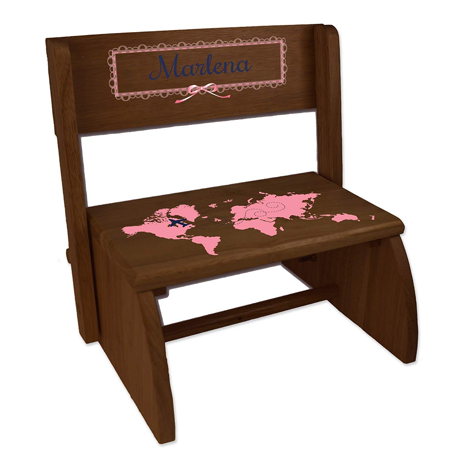 Personalized World Map Pink Espresso Wooden Folding Stool and Seat