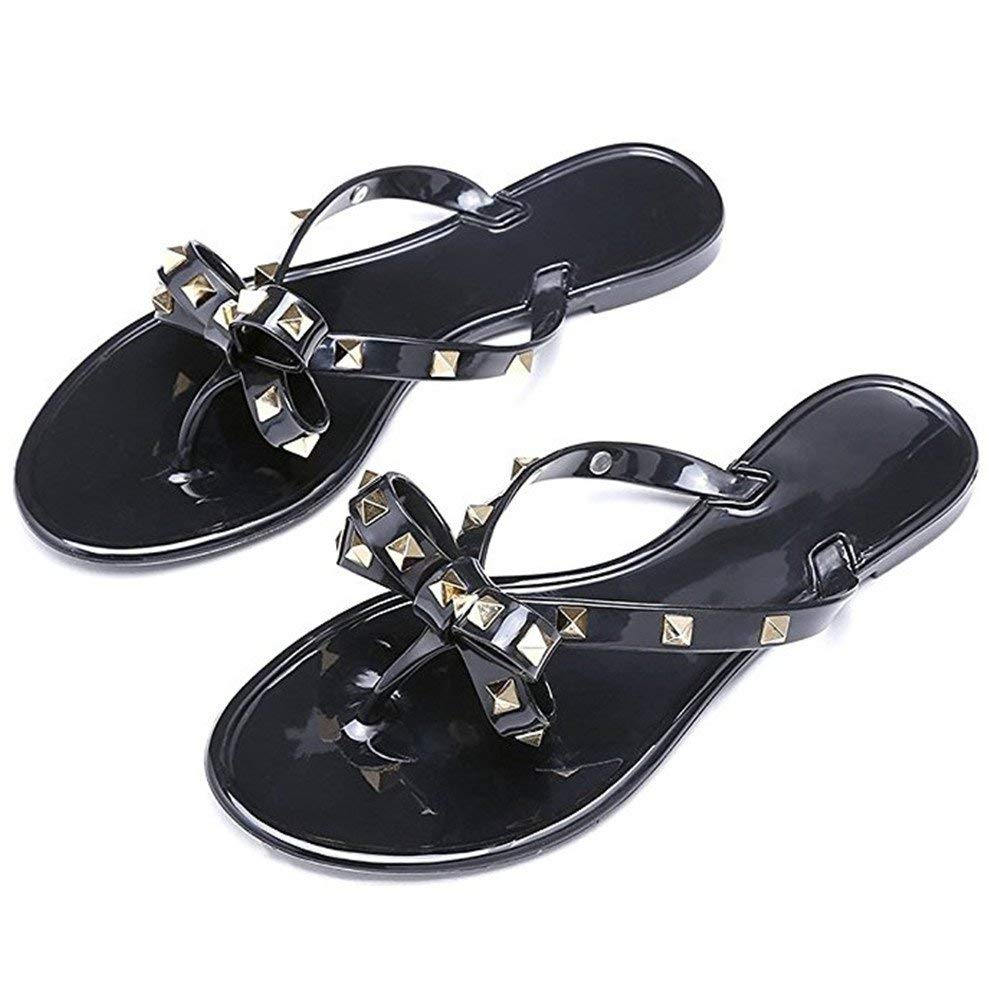 bb63d1c69 Get Quotations · Longou Casual Flip Flops for Women Jelly Thong Flat Sandals  Rubber Rivets Bow Flip Flops Summer