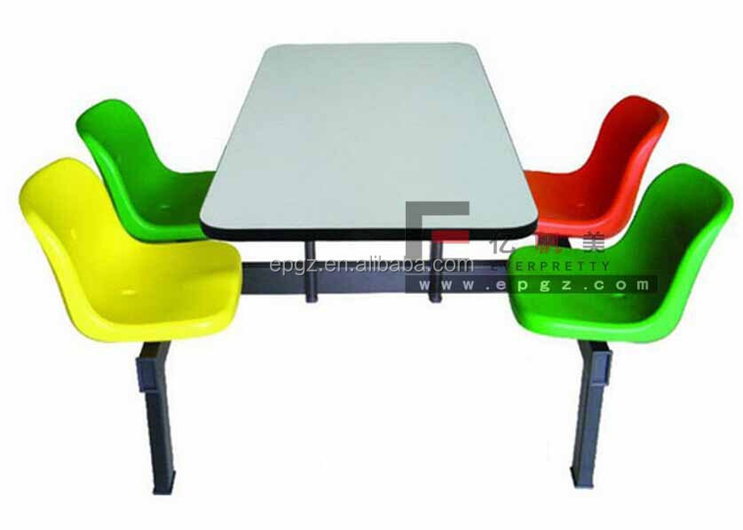 Four Seats Shaped Dining Table Fast Food And Chair Heavy Duty