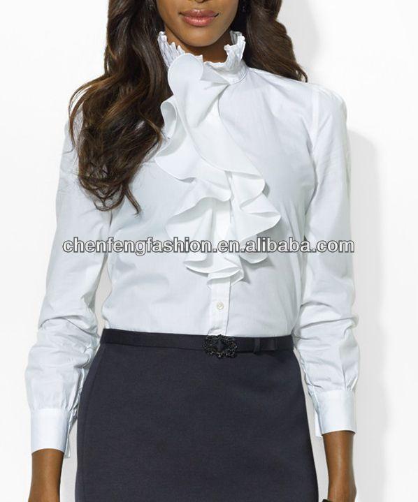 Witte blouse met hoge kraag dames